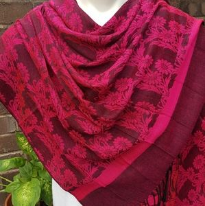 Bright Pink and Burgundy Pashmina Scarf